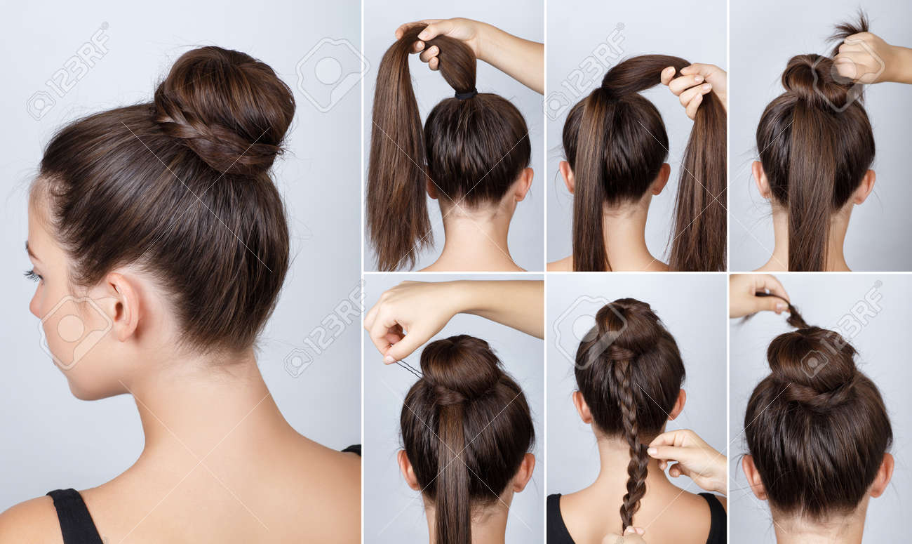 Hairstyle Tutorial Elegant Bun With Braid. Simple Hairstyle.. Stock ...