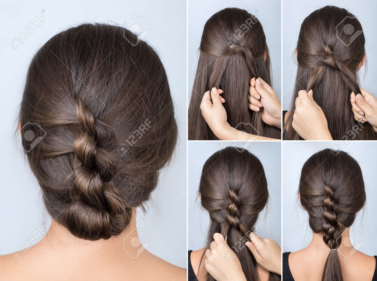 simple twisted hairstyle tutorial. easy hairstyle for long hair