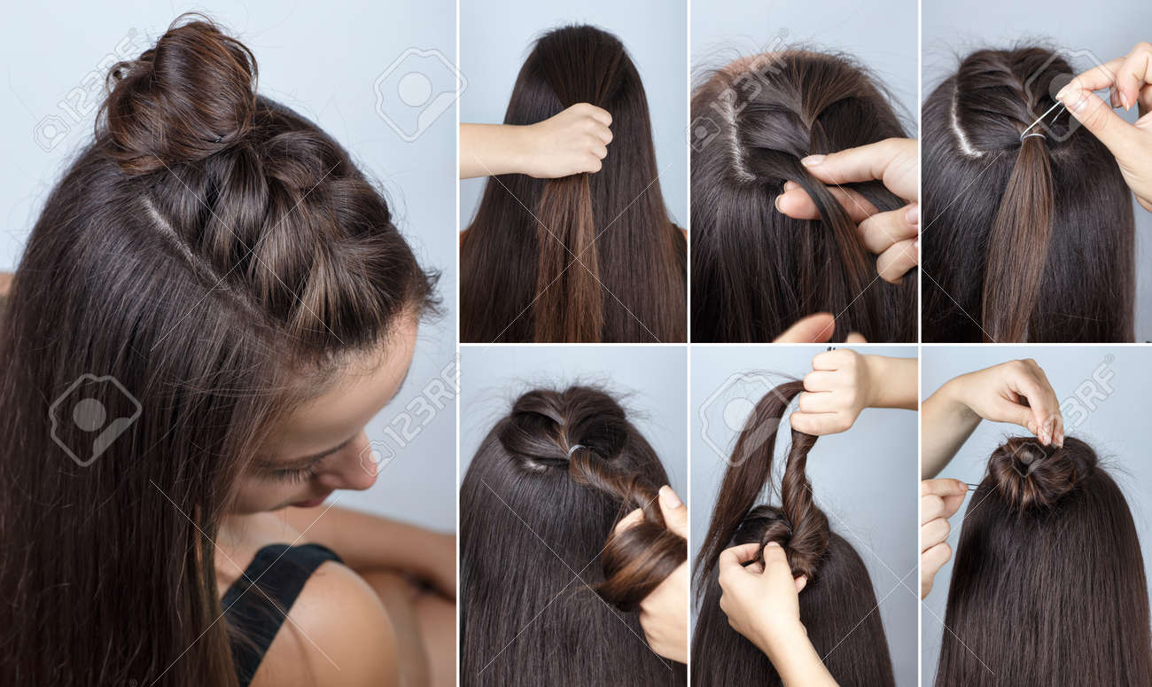 modern hairstyle twisted bun and braid with loose hair. Hairstyle..