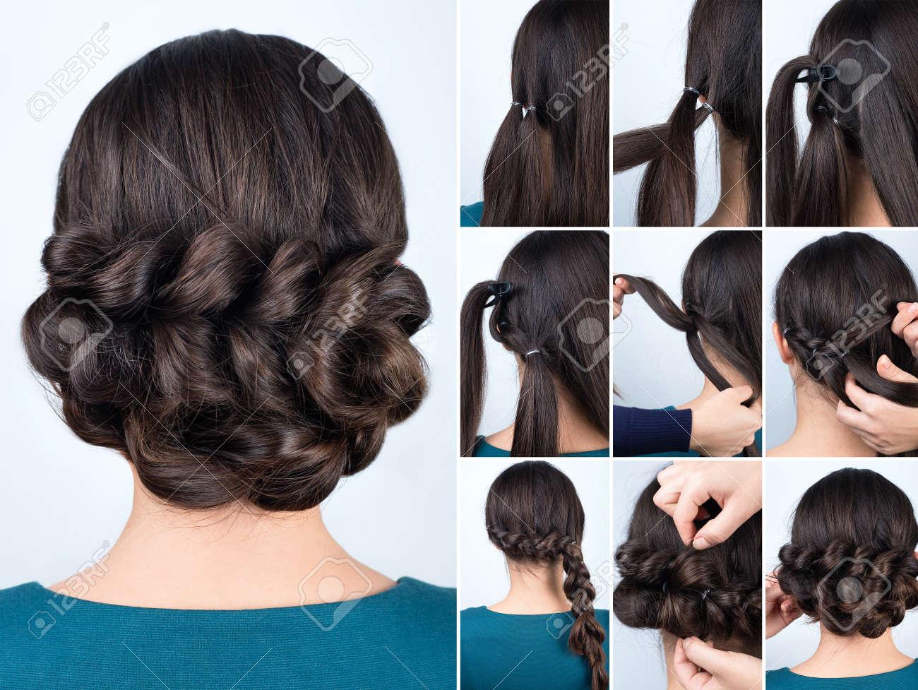 Hair tutorial. Hairstyle volume braids tutorial. Backstage technique..