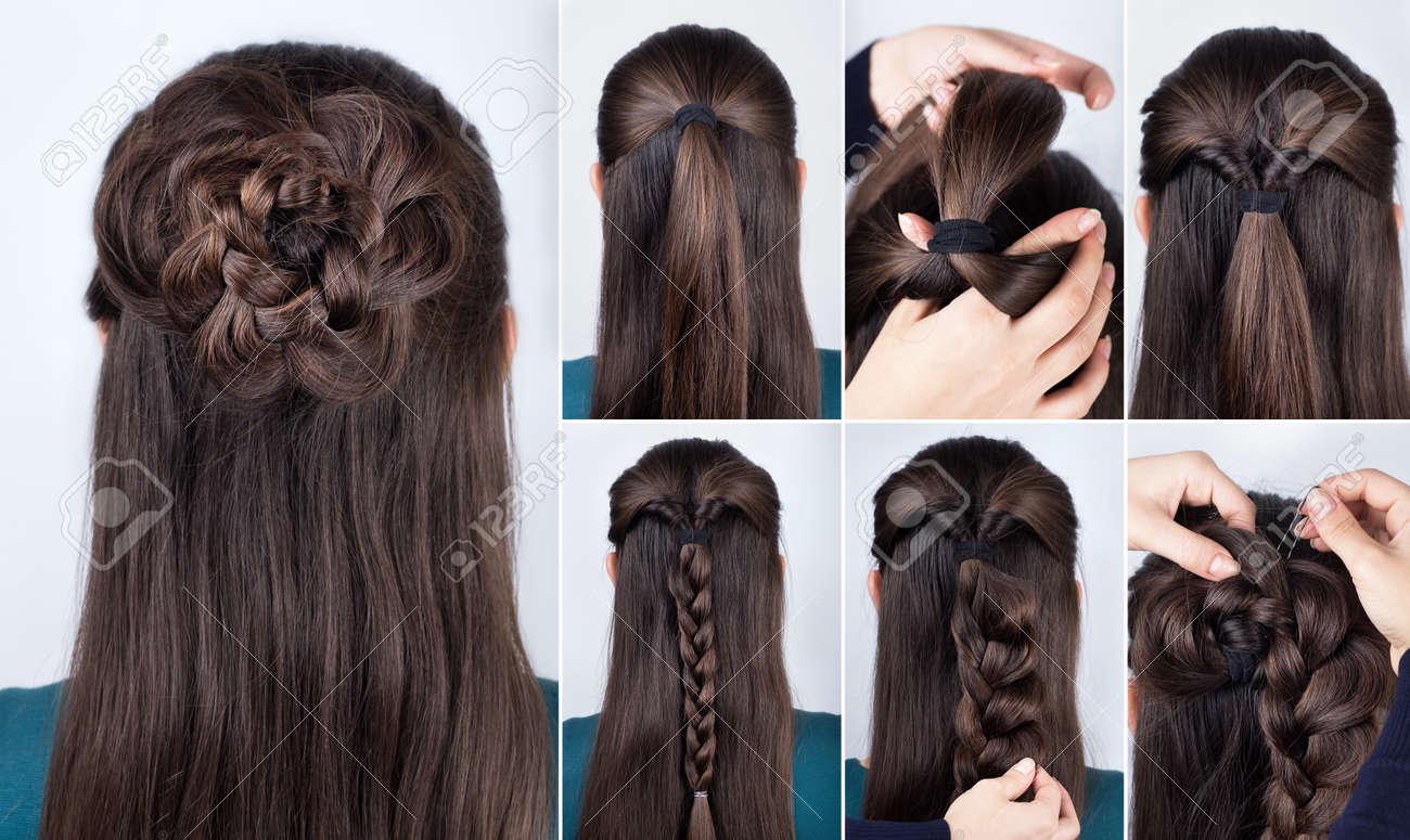 hairstyle braided rose tutorial step by step. Hairstyle for long hair. Simple hairstyle for long and medium loose hair tutorial. Braided hairstyle. Hair tutorial - 66659094