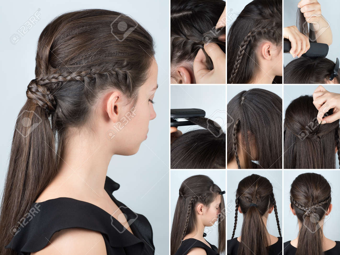 Volume Hairstyle Ponytail With Plait Tutorial Hairstyle For Stock