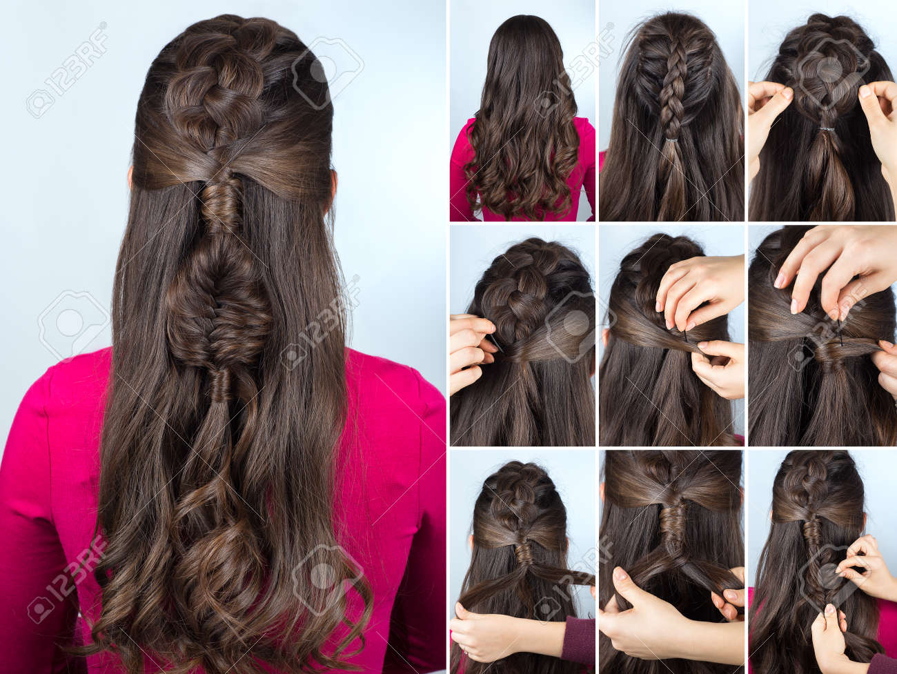Modern Hairstyle Boho Braid With Curly Loose Hair Hairstyle Stock