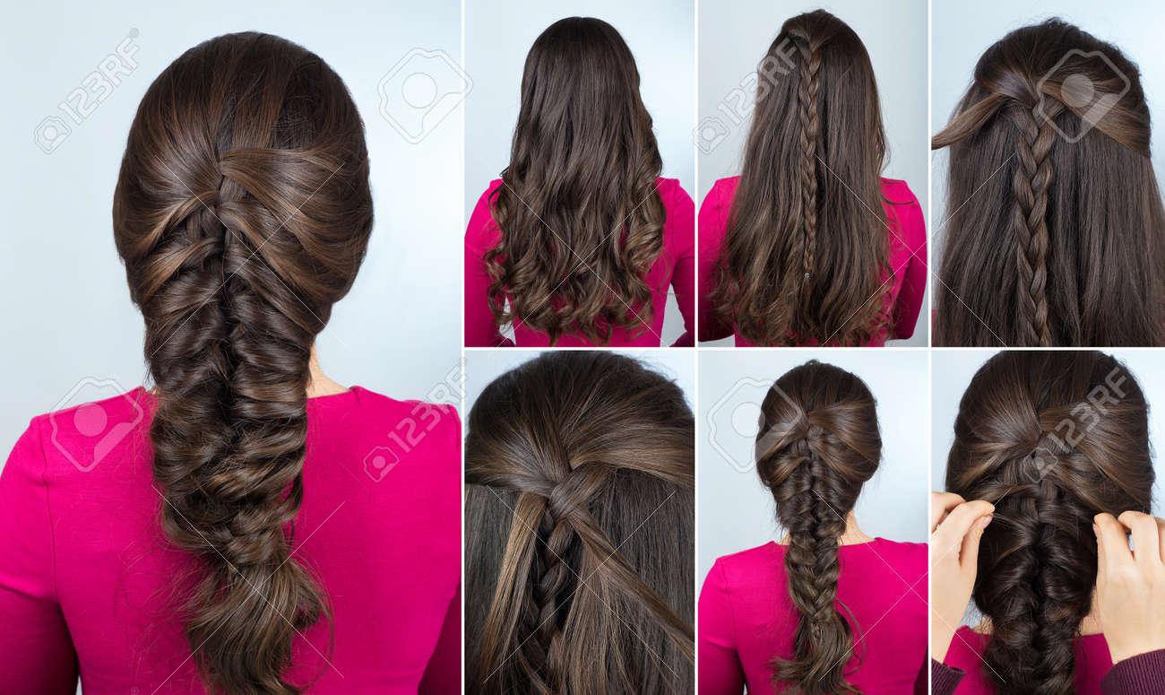 simple hairstyle volume plait on curly hair. Hairstyle tutorial for long curly hair. Hairstyle for party tutorial step by step. Hair tutorial. Mermaid braid - 66661347