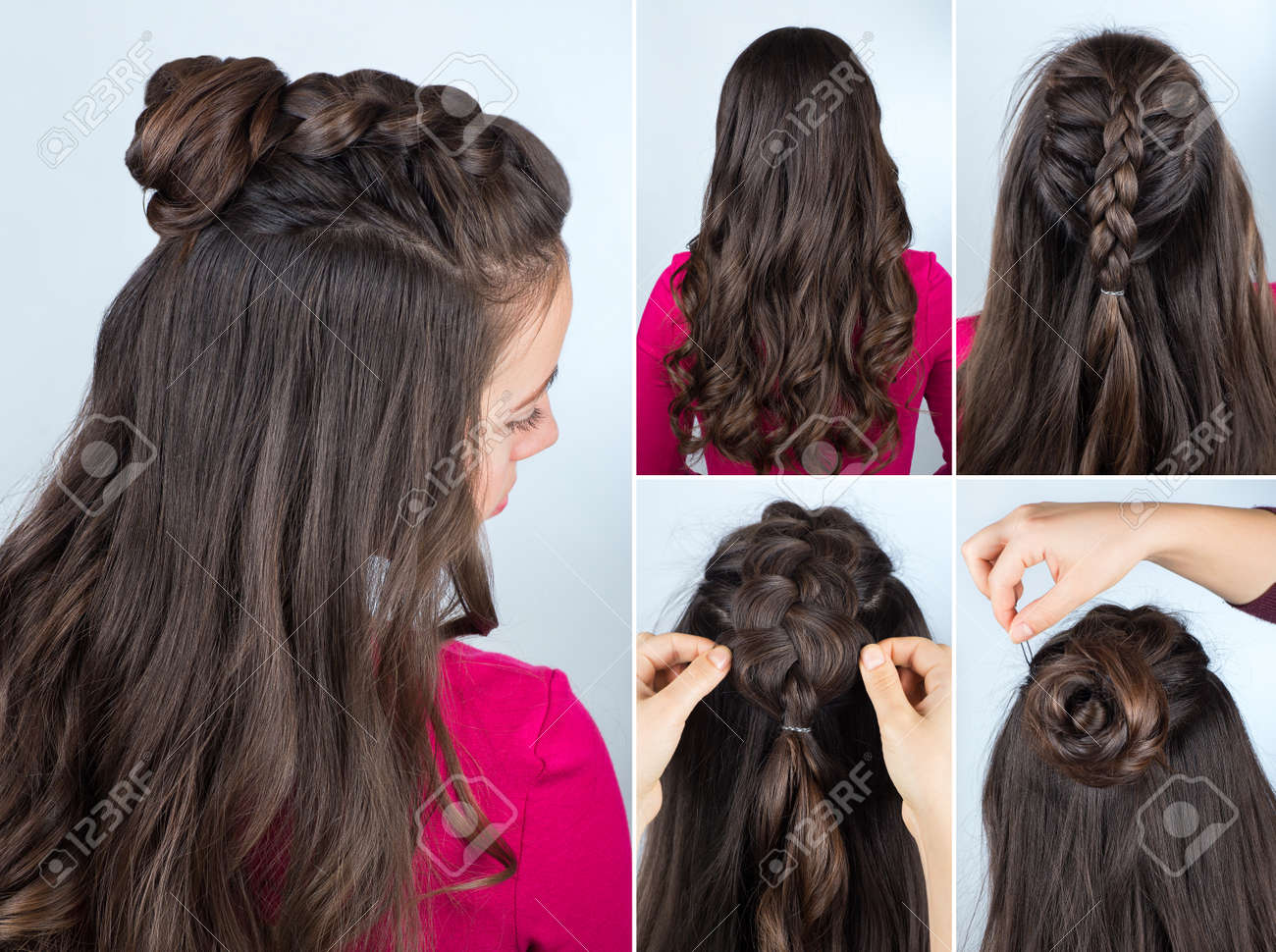 Modern Hairstyle Twisted Bun And Braid With Curly Loose Hair