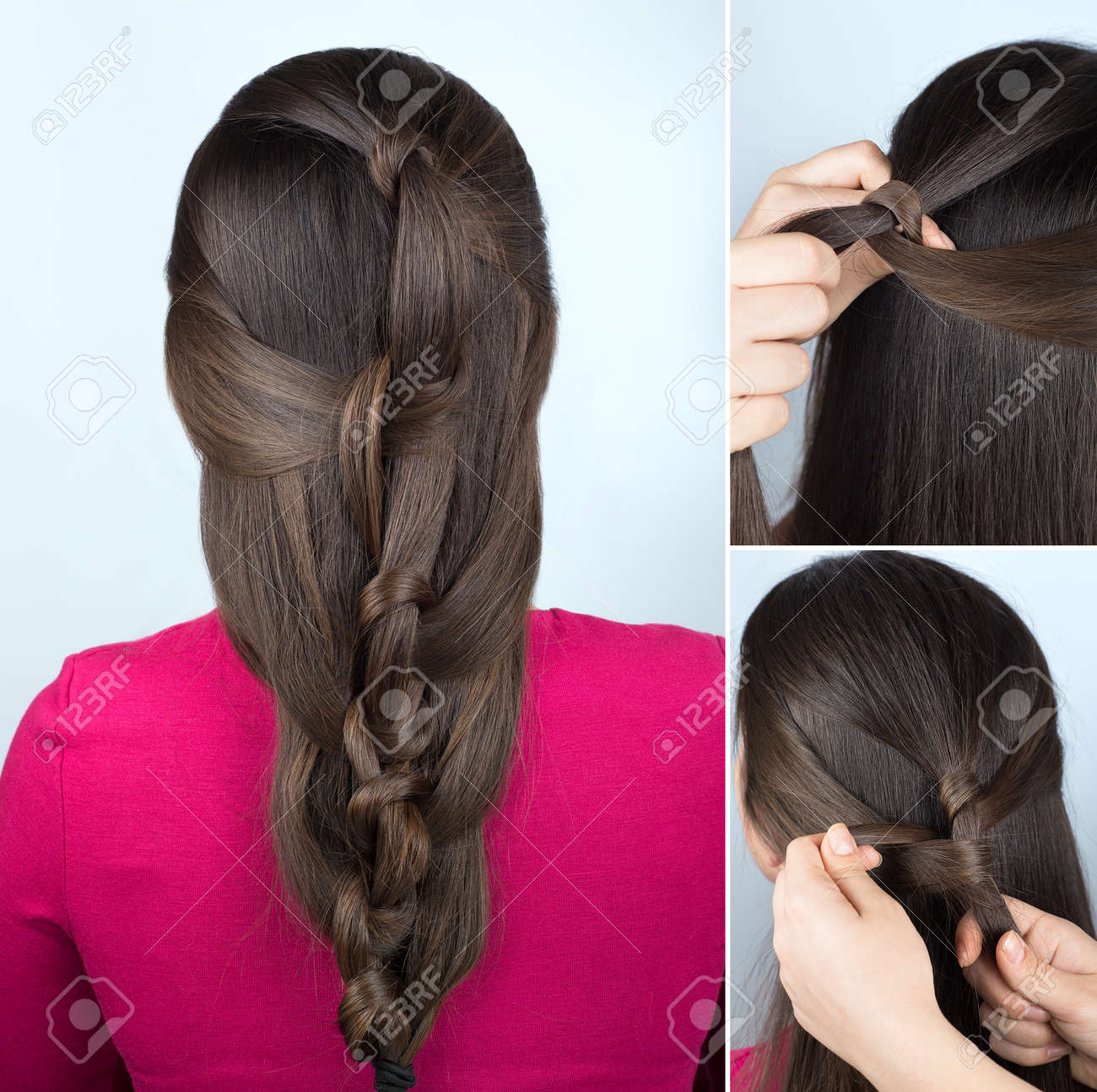 simple hairstyle twisted plait tutorial. Easy hairstyle for long hair. Hairstyle of twisted knots. Hairstyle tutorial step by step - 66659560