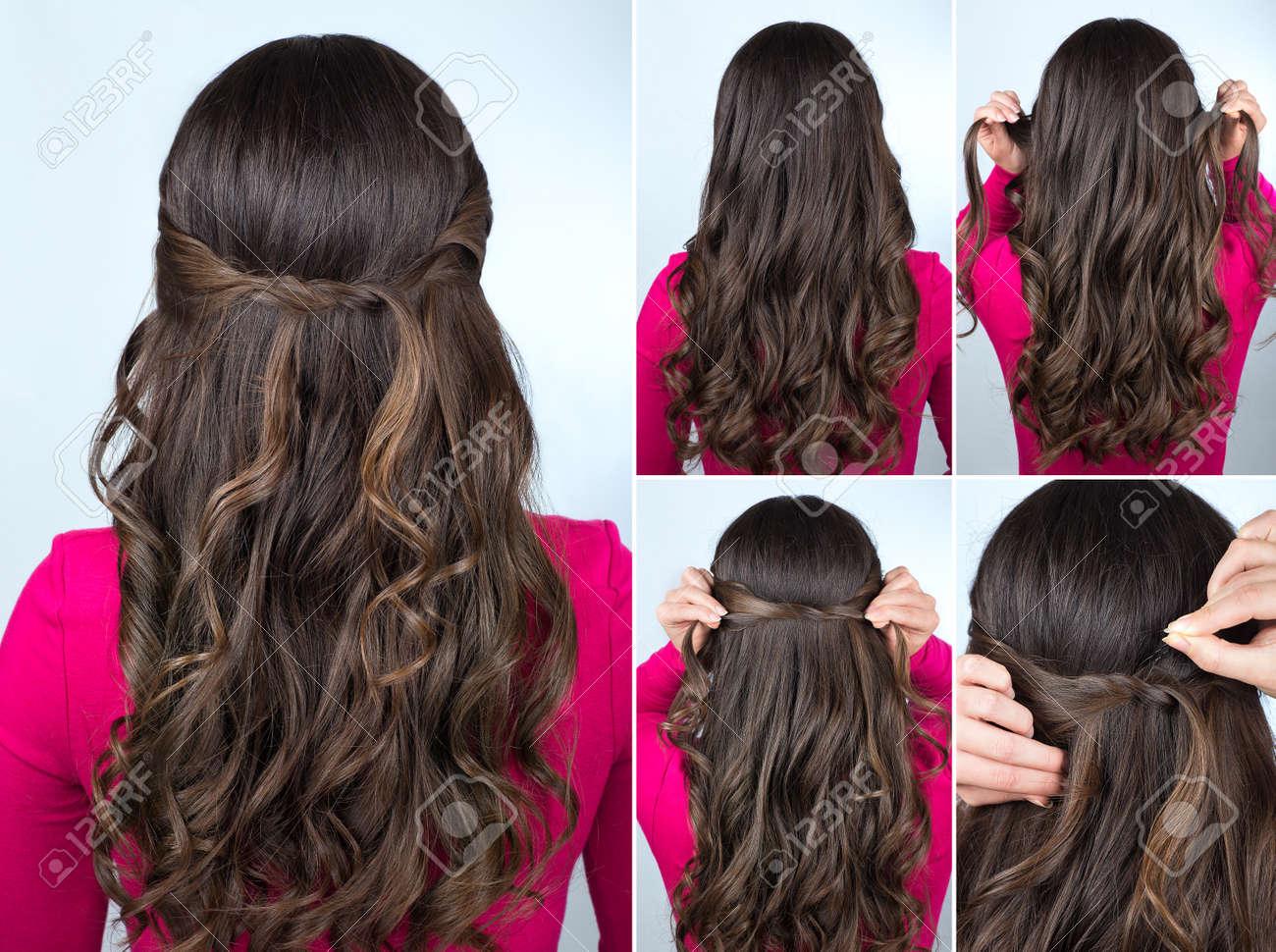 Einfache Geknotete Frisur Auf Lockiges Haar Tutorial Frisur Für