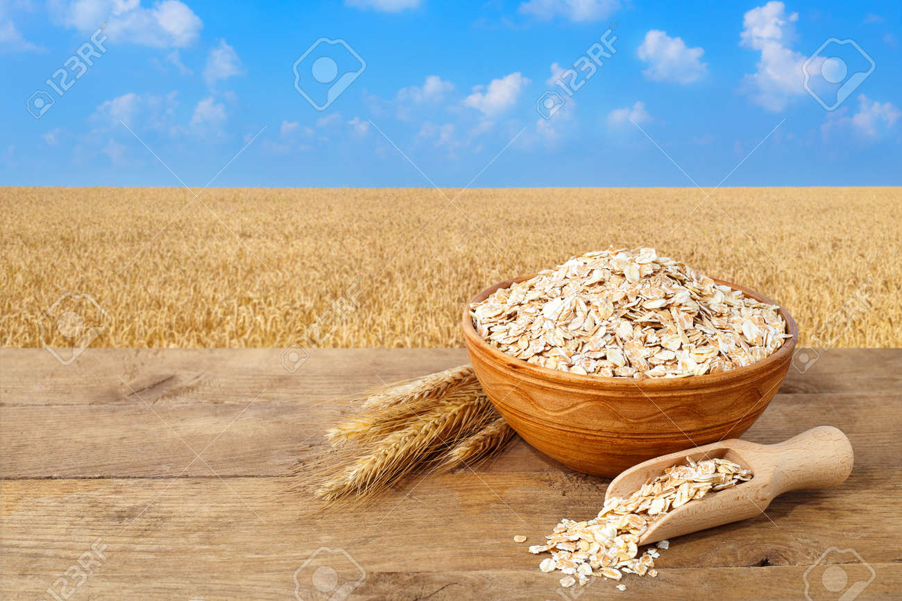Oat flakes in bowl. Ears of oats and oatmeal in bowl on table with field on the background. Agriculture and harvest concept. Gold field and blue sky. Uncooked porridge - 69562095