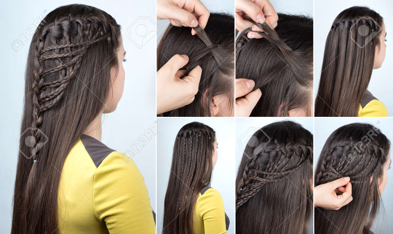 hairstyle braid waterfall with loose hair. Hairstyle tutorial for long hair. Hairstyle for party tutorial step by step - 70301823