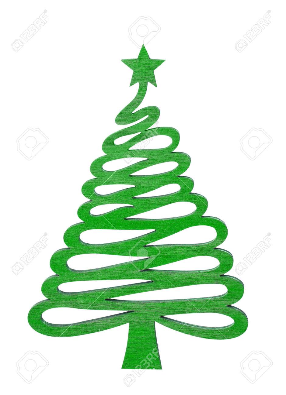 Arbre Bois Blanc Decoration décoration de noël arbre bois vert avec étoile isolé sur blanc avec chemin  de détourage. noël jouet en bois. bois arbre de noël sur un fond blanc