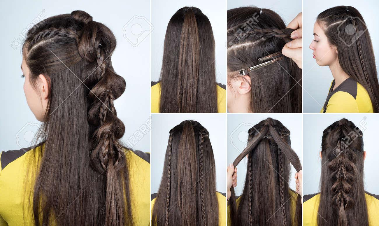Coiffure pour cheveux long avec tresse