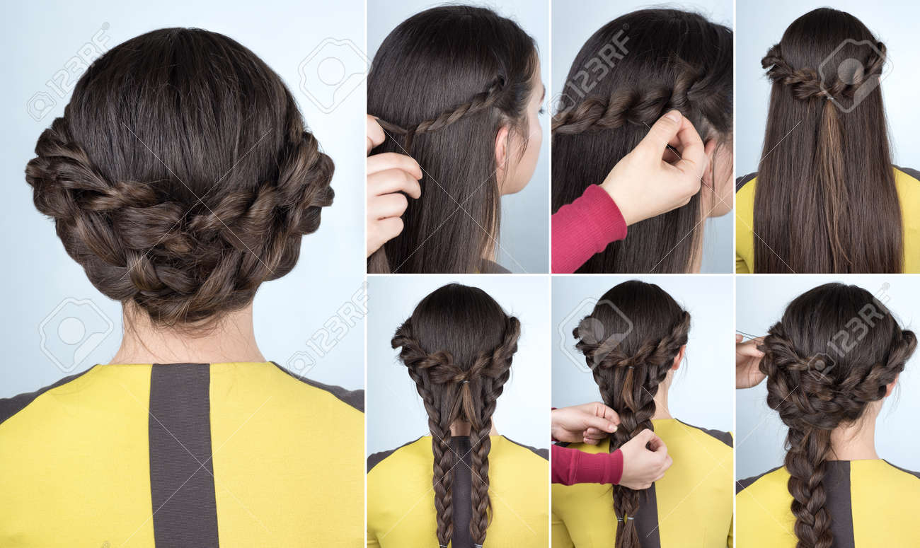 elegant updo with braids . Hairstyle tutorial for long hair. Hairstyle for party tutorial step by step - 70607897