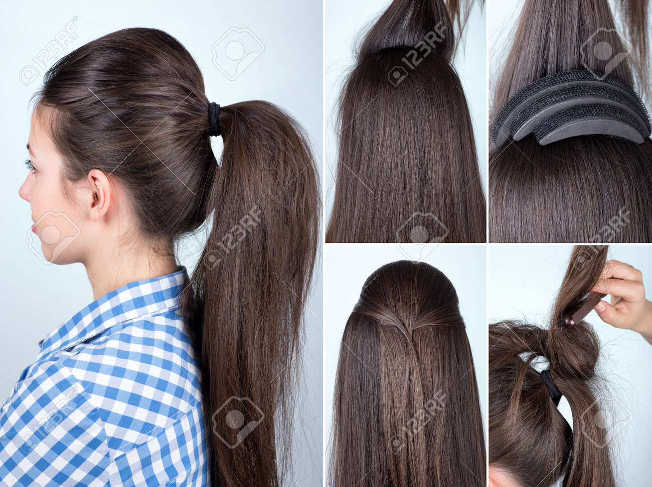 Hairstyle Volume Ponytail Tutorial Stock Photo Picture And Royalty