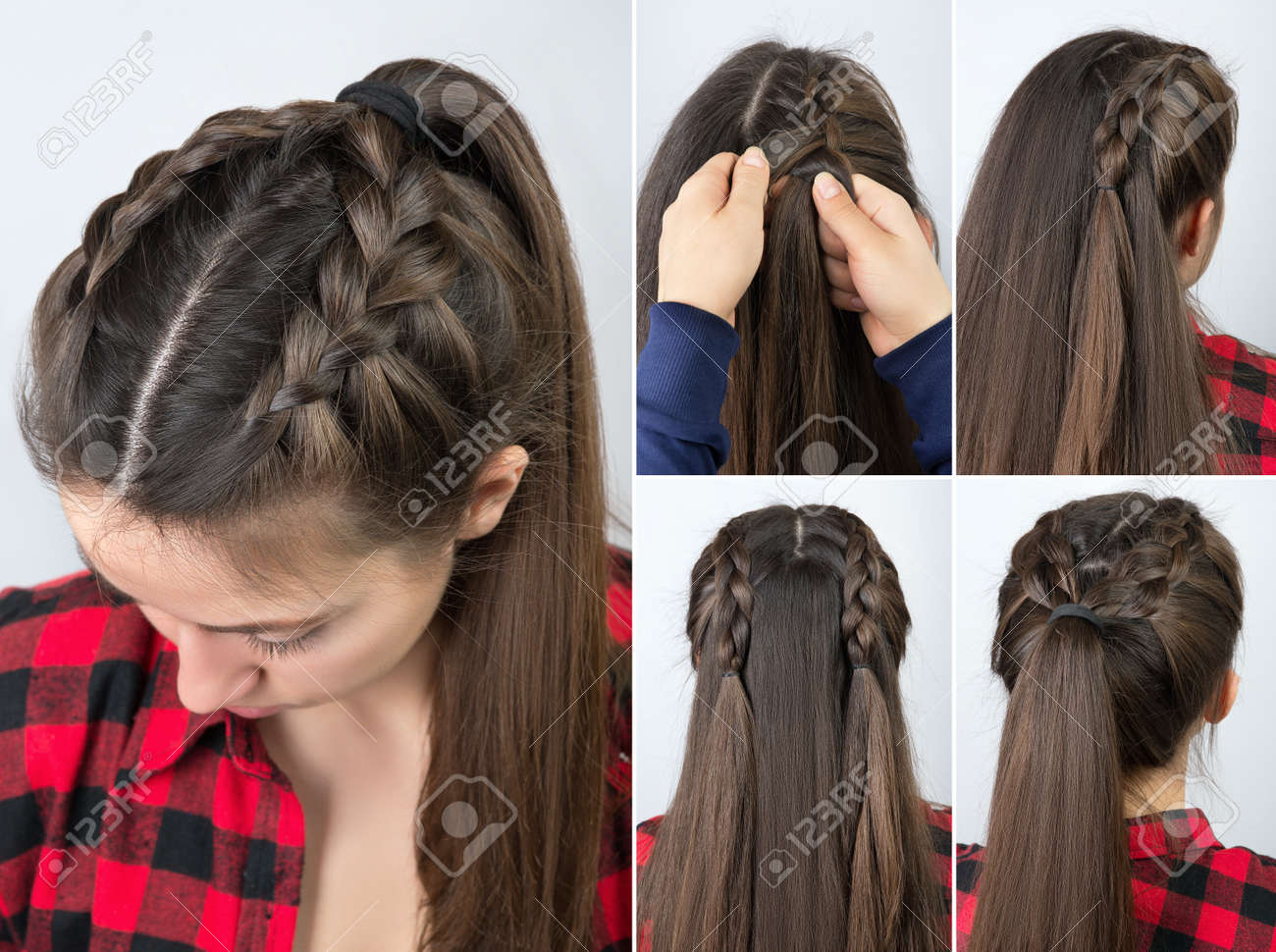 pony tail with braid hairstyle tutorial - 74496049