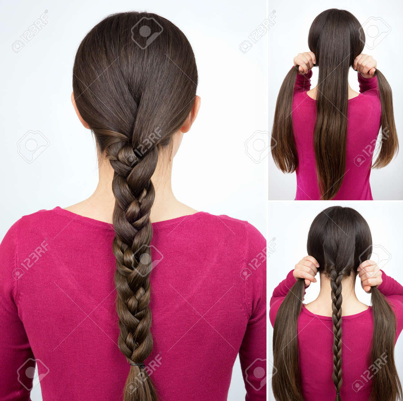 Hairstyle One Simple Braid Tutorial Stock Photo Picture And Royalty
