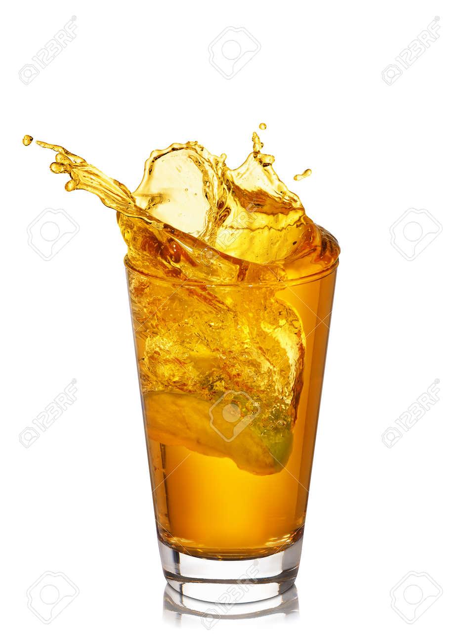 glass of splashing apple juice - 97216443