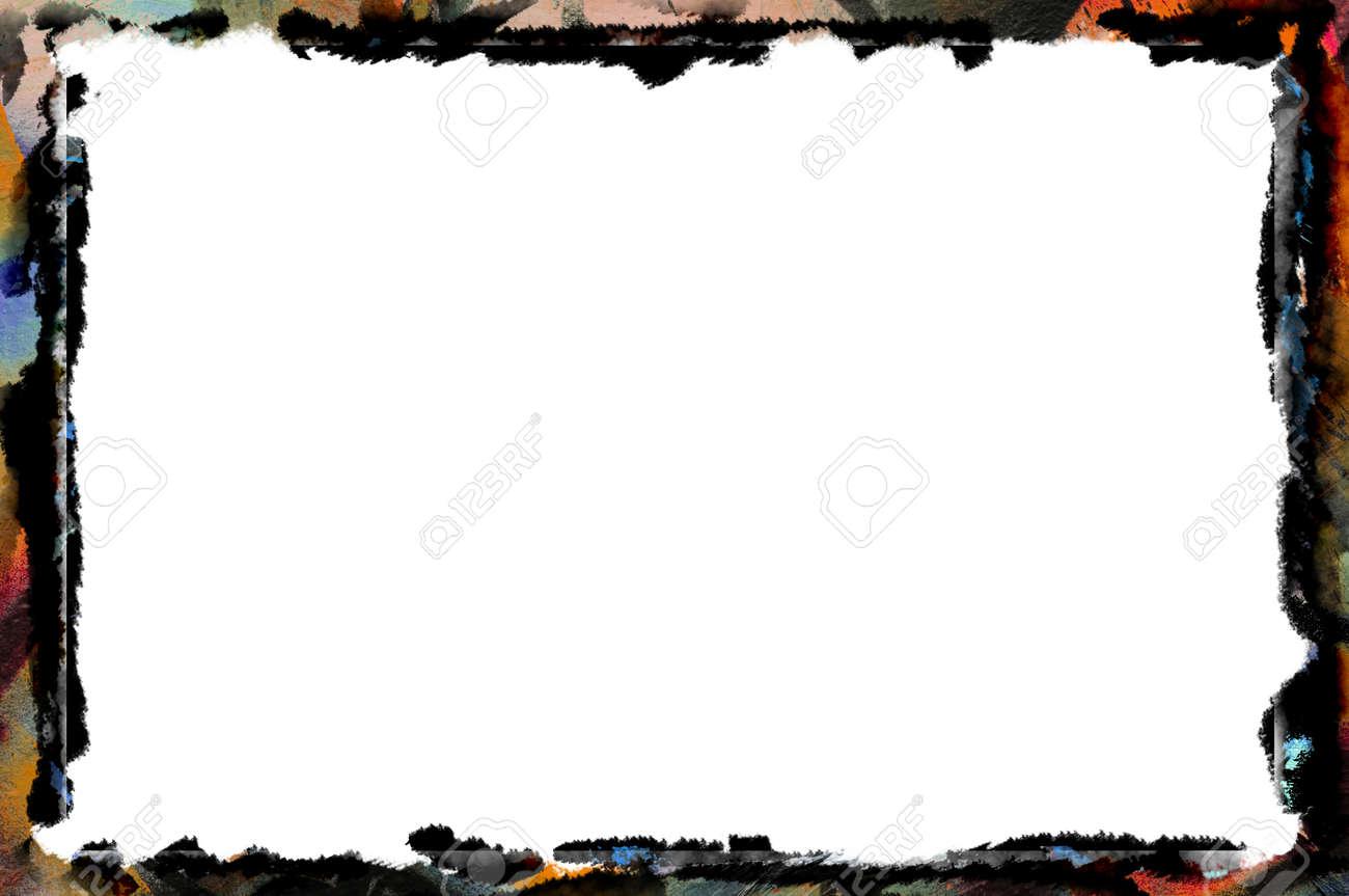 Einzigartige Mehrfarbigen Grenze Rahmen Der Künstlerischen Striche ...