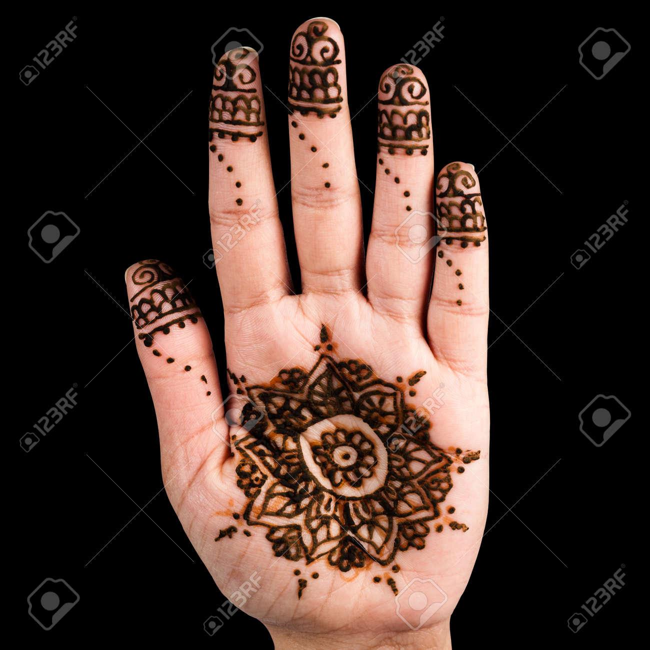 Henna Hand Tattoo Decoration Art Clipping Path Square Black