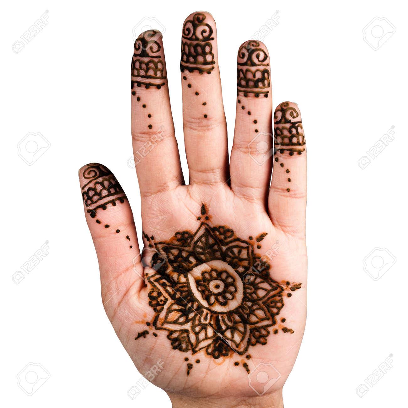 Henna Hand Tattoo Decoration Art Clipping Path Square White