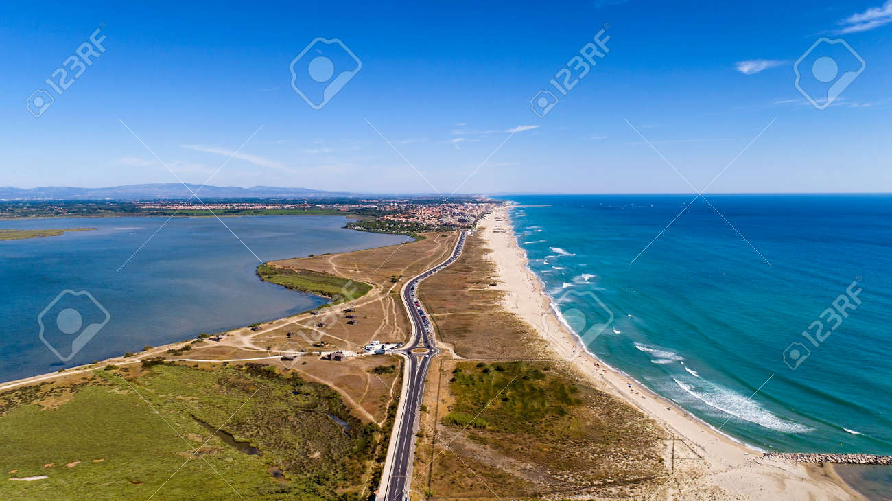 Aerial panorama of Canet en Roussilon in the Pyrenees Orientales - 136963411