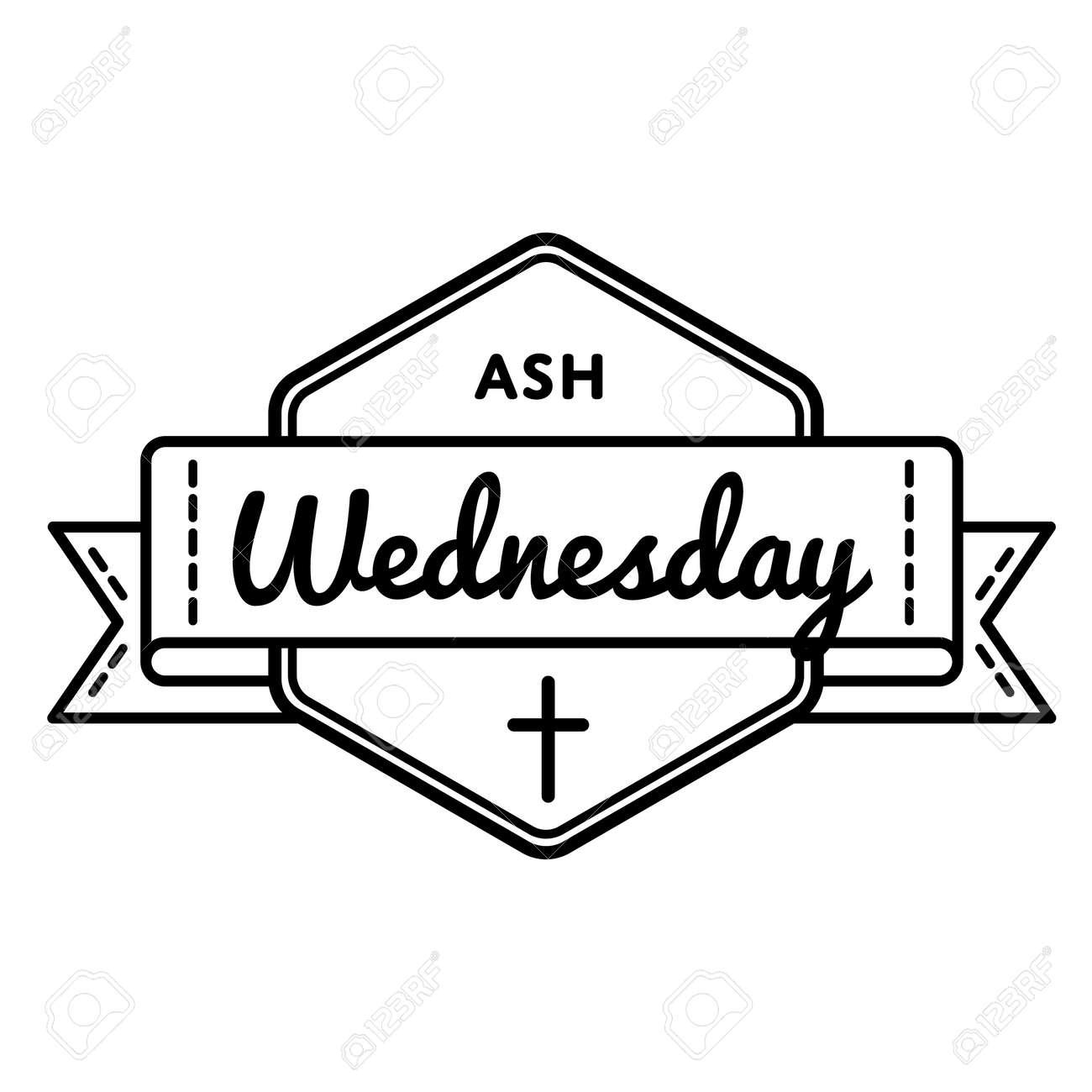 Catholic Ash Wednesday Greeting Emblem Royalty Free Cliparts