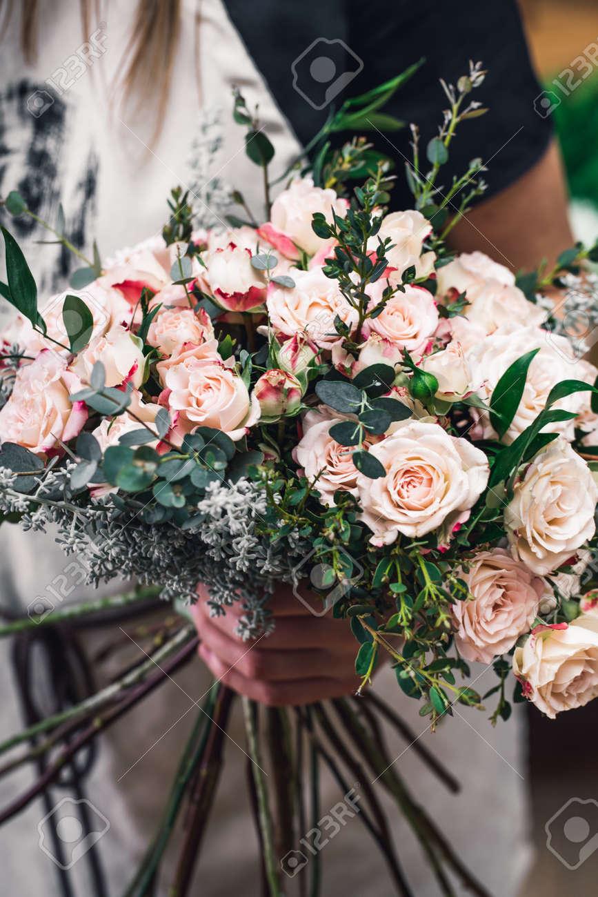 Florist Arrangement Beautiful Bouquet For Flowers Delivery Stock