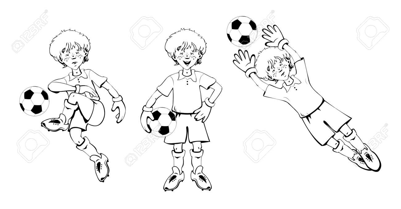 Happy Boy Fußball Torwart Fußball Ball In Verschiedenen Positionen