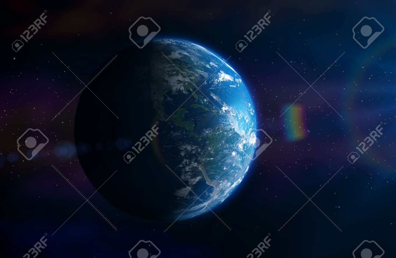 Planet Earth In outer space in the sun with a lens effect. 3D illustration - 134401677