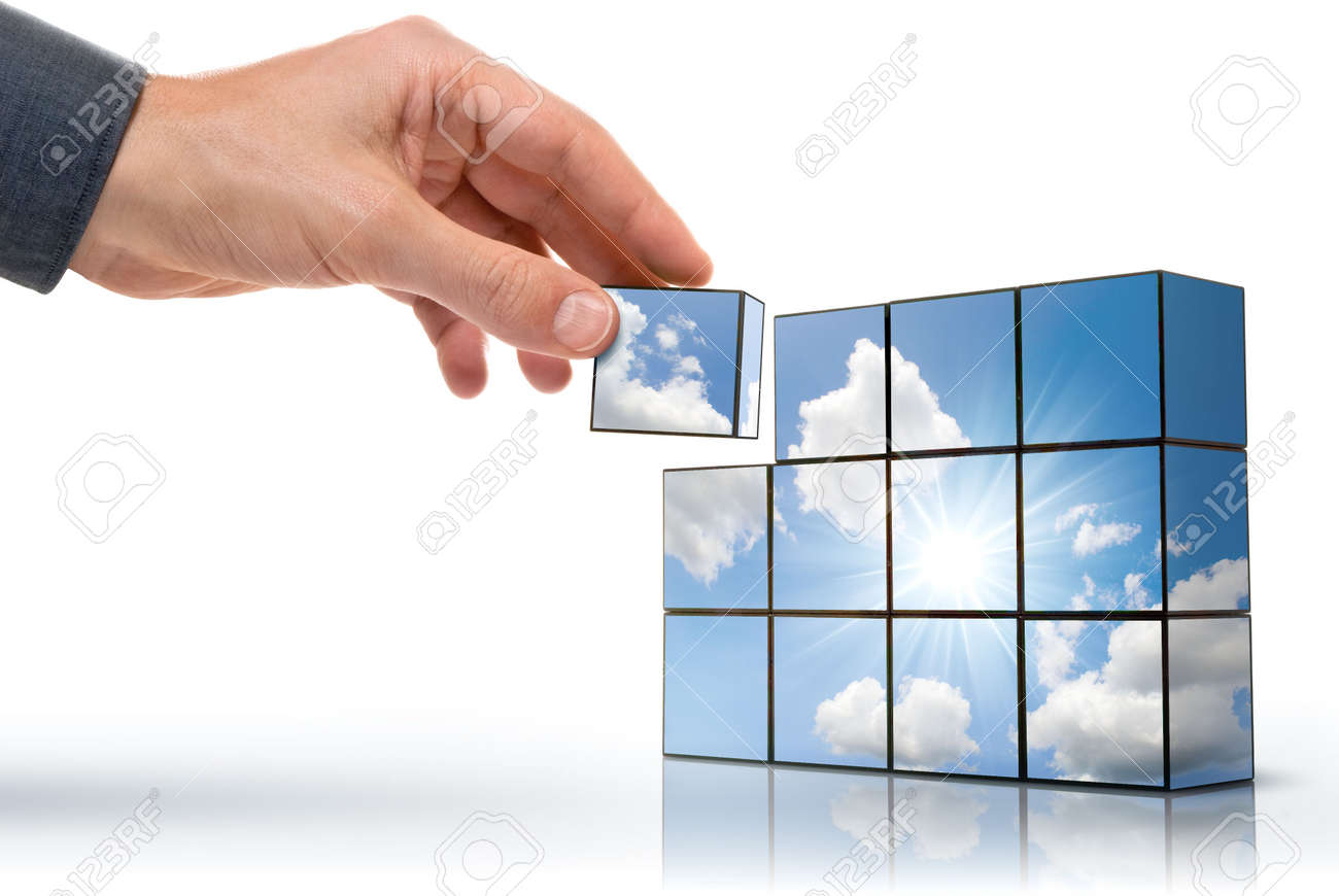 hand building up a sunny sky with white clouds Stock Photo - 4631634