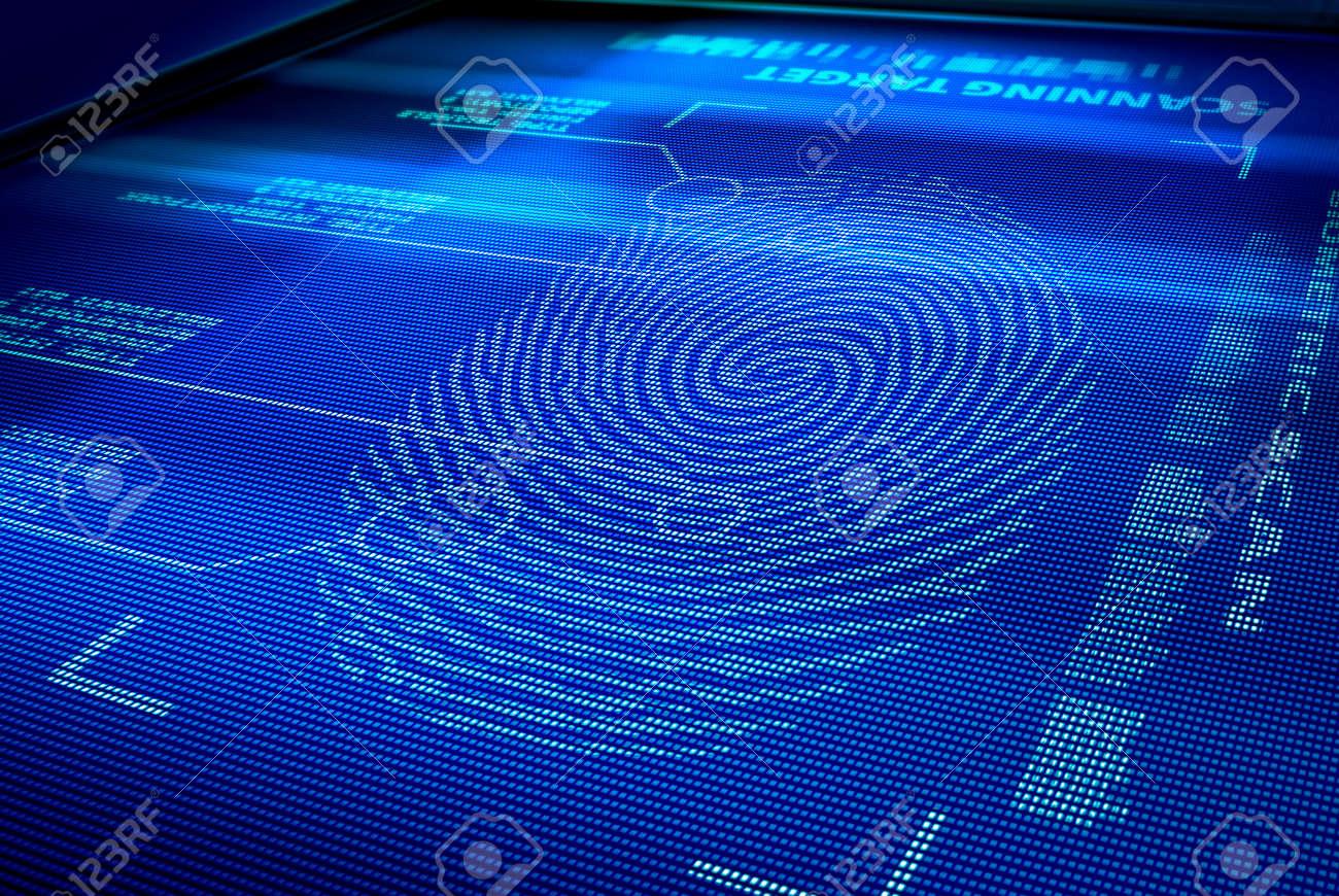 identification system interface scanning a human fingerprint Stock Photo - 7908026