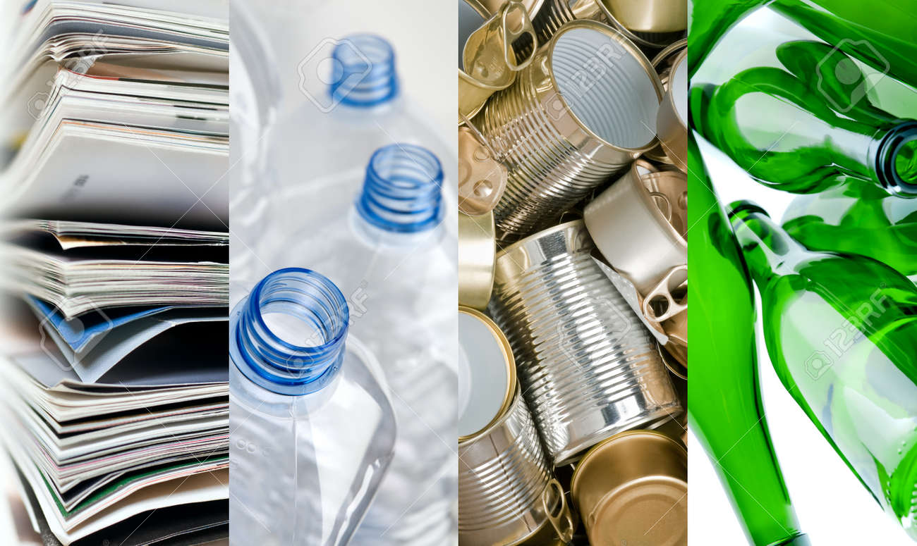 Recyclable Materials Paper Metals Plastic And Glass Bottles In ...