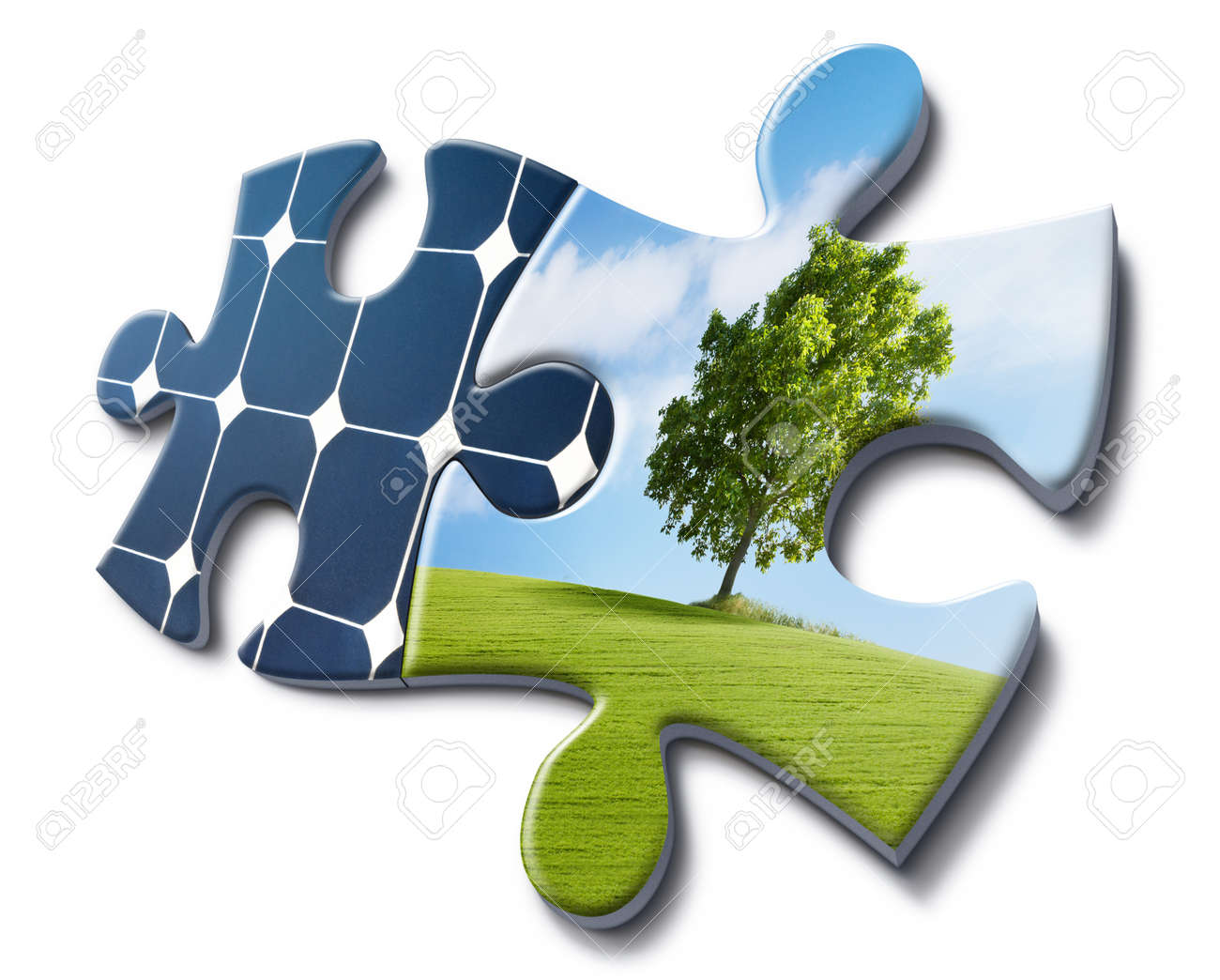 solar energy fits with nature, representation made with puzzle cards Stock Photo - 12436385