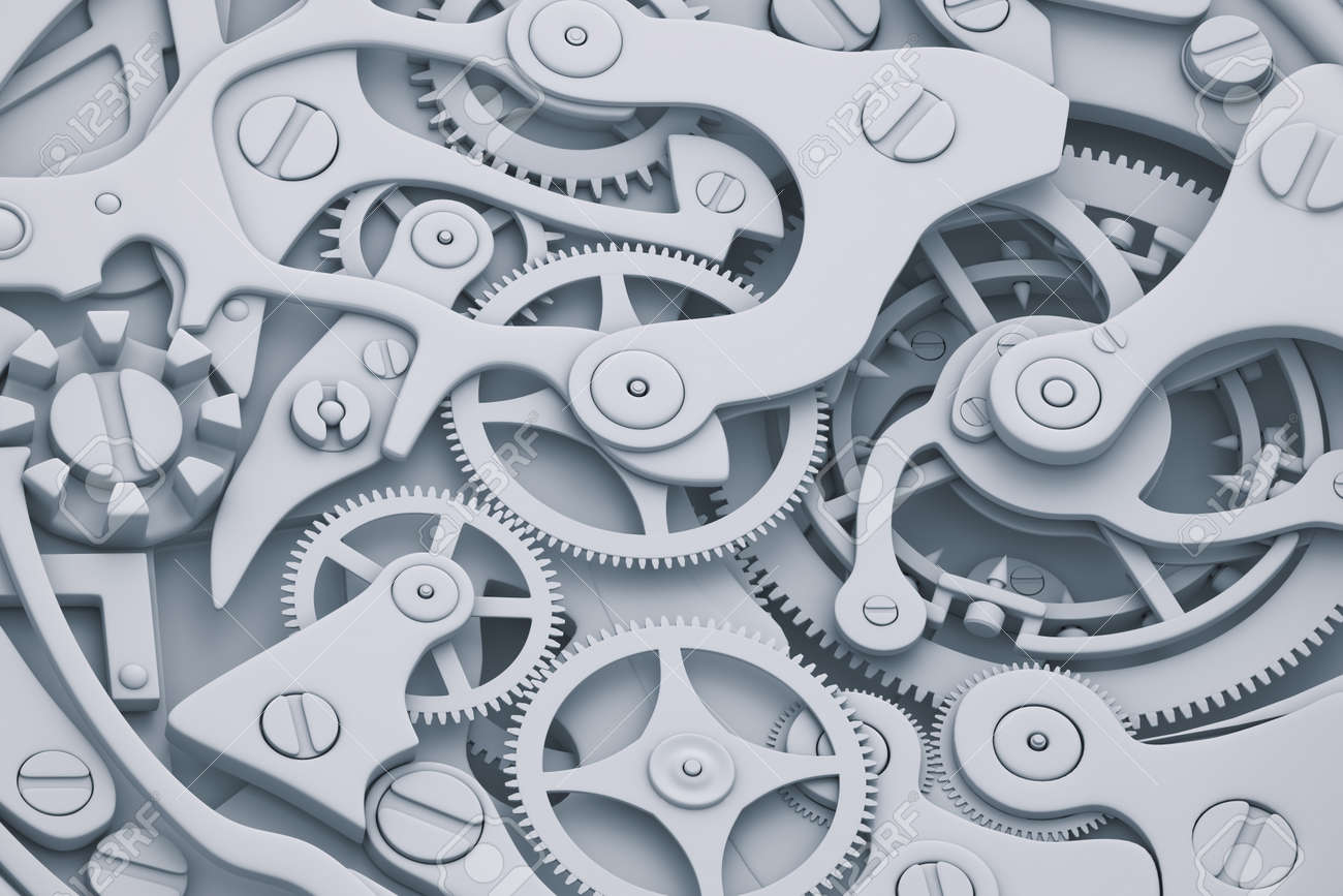 watch mechanism 3d illustration with gears stock photo picture and