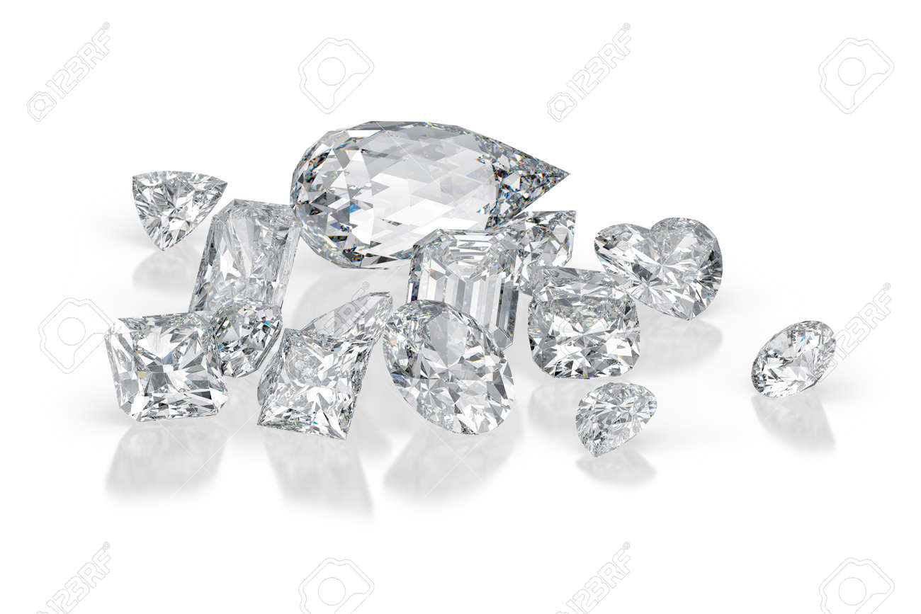 Diamonds different cuts on white background with reflections. 3d rendering - 131571270