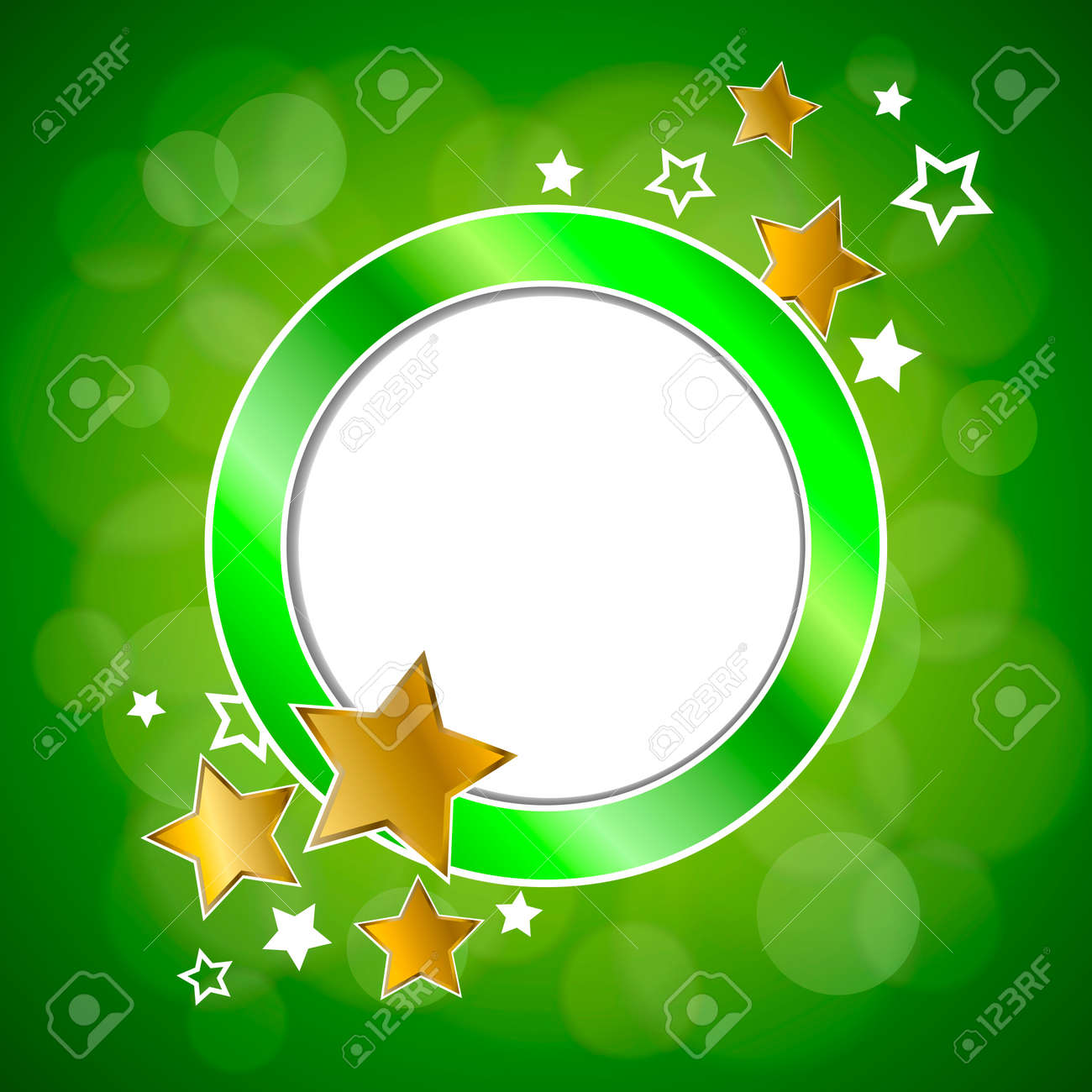 Abstract Background Green Gold Stars Circle Frame Illustration