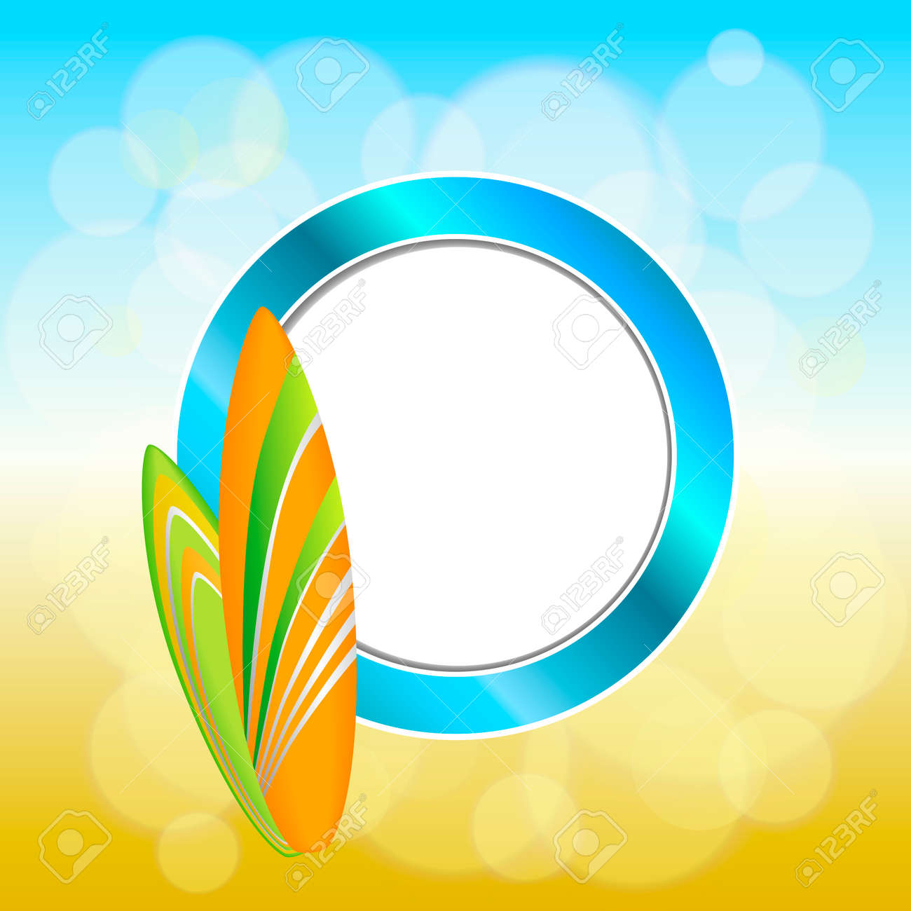 Abstract Background Holidays Design Orange Green Surfboards Blue