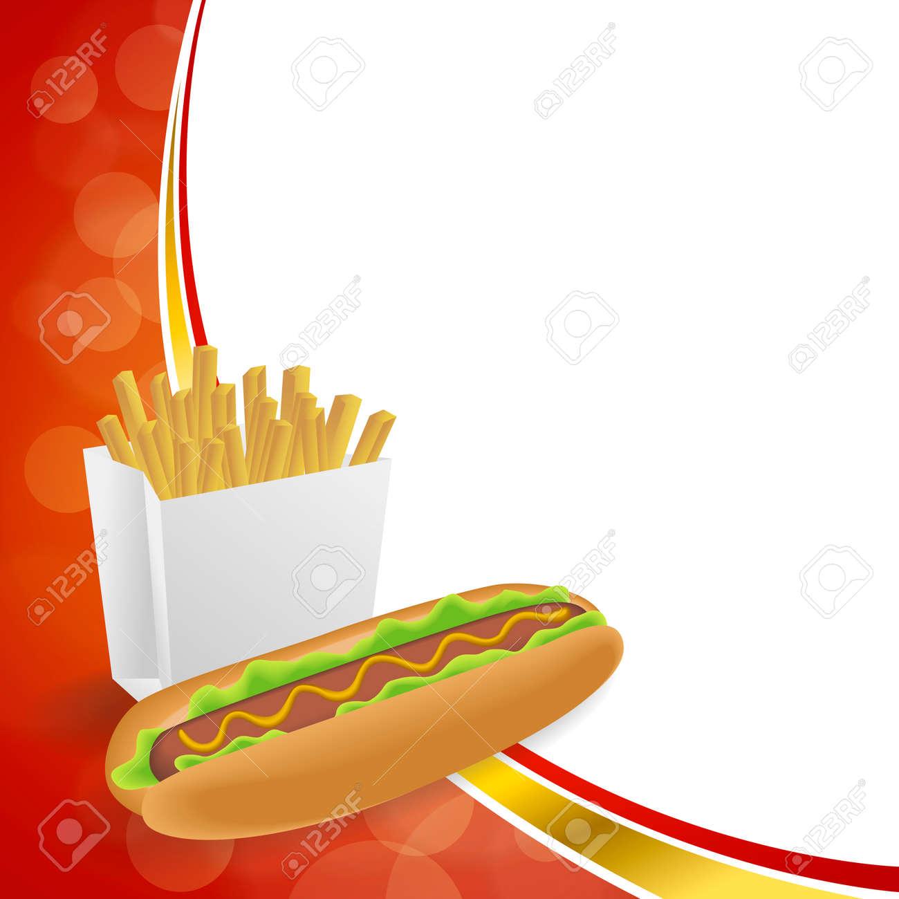 Zusammenfassung Hintergrund Hot Dog Weiß Französisch Frites Box Rot