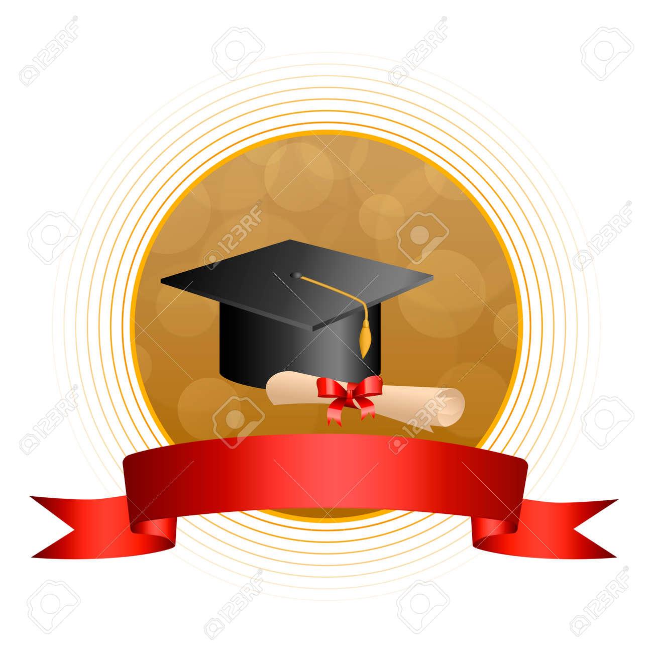 背景抽象ベージュ教育卒業キャップ赤ディプロマ ボー リボン サークル