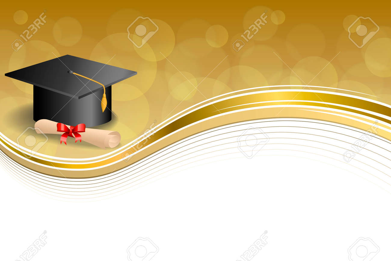 background abstract beige education graduation cap diploma red bow gold frame illustration vector stock vector