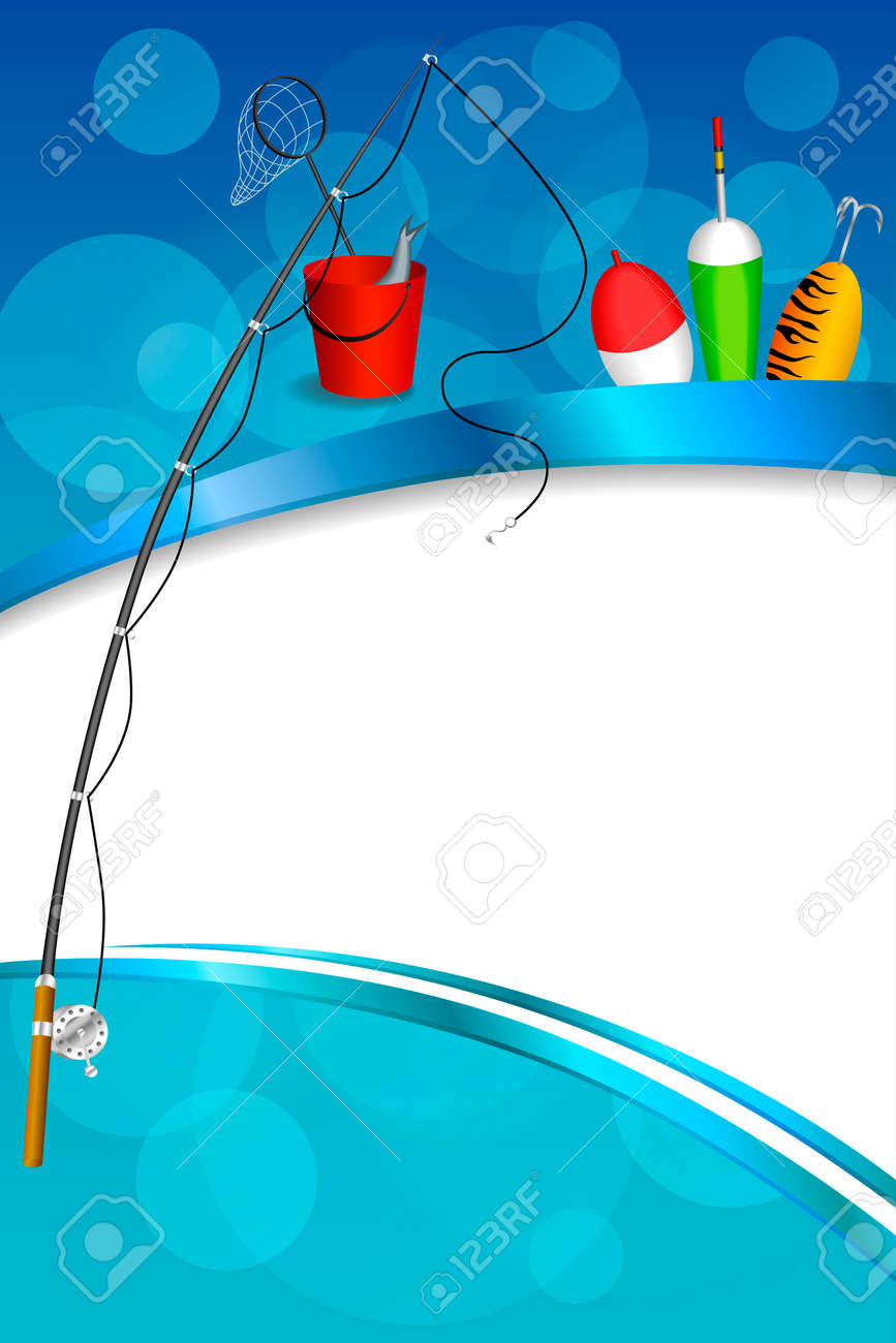 Background Abstract Blue White Fishing Rod Red Bucket Fish Net ...