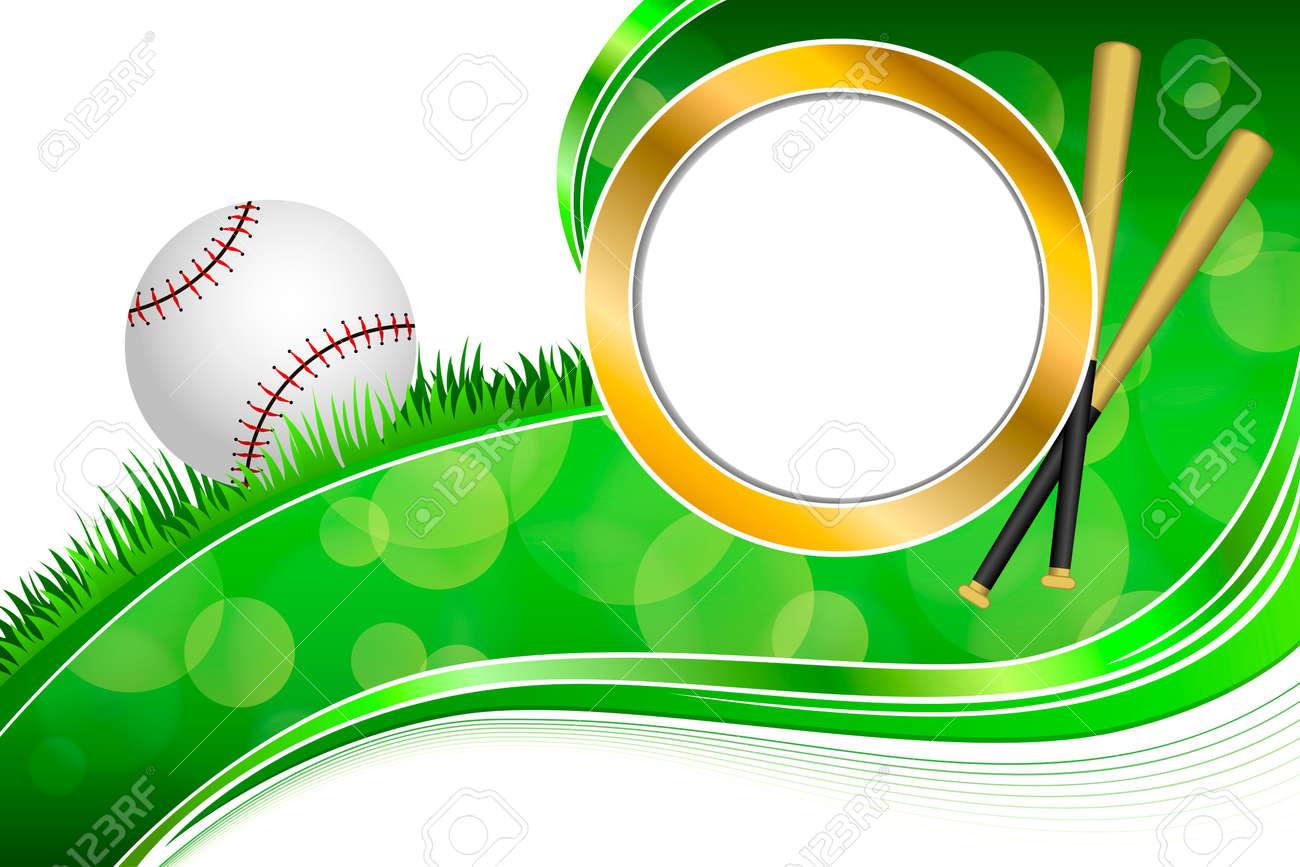 Hintergrund Abstrakte Grüne Gras Baseball-Ball Goldkreisrahmen ...