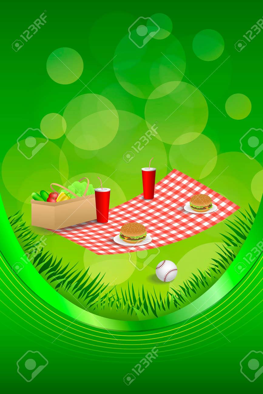 Hintergrund Abstrakt Picknickkorb Hamburger Trinken Gemüse Baseball ...