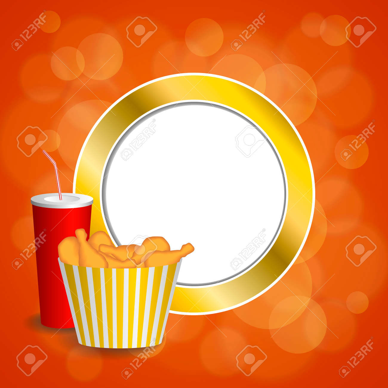 Abstract Background Food Chicken Roten Getränks Cola Gelbgold Kreis ...