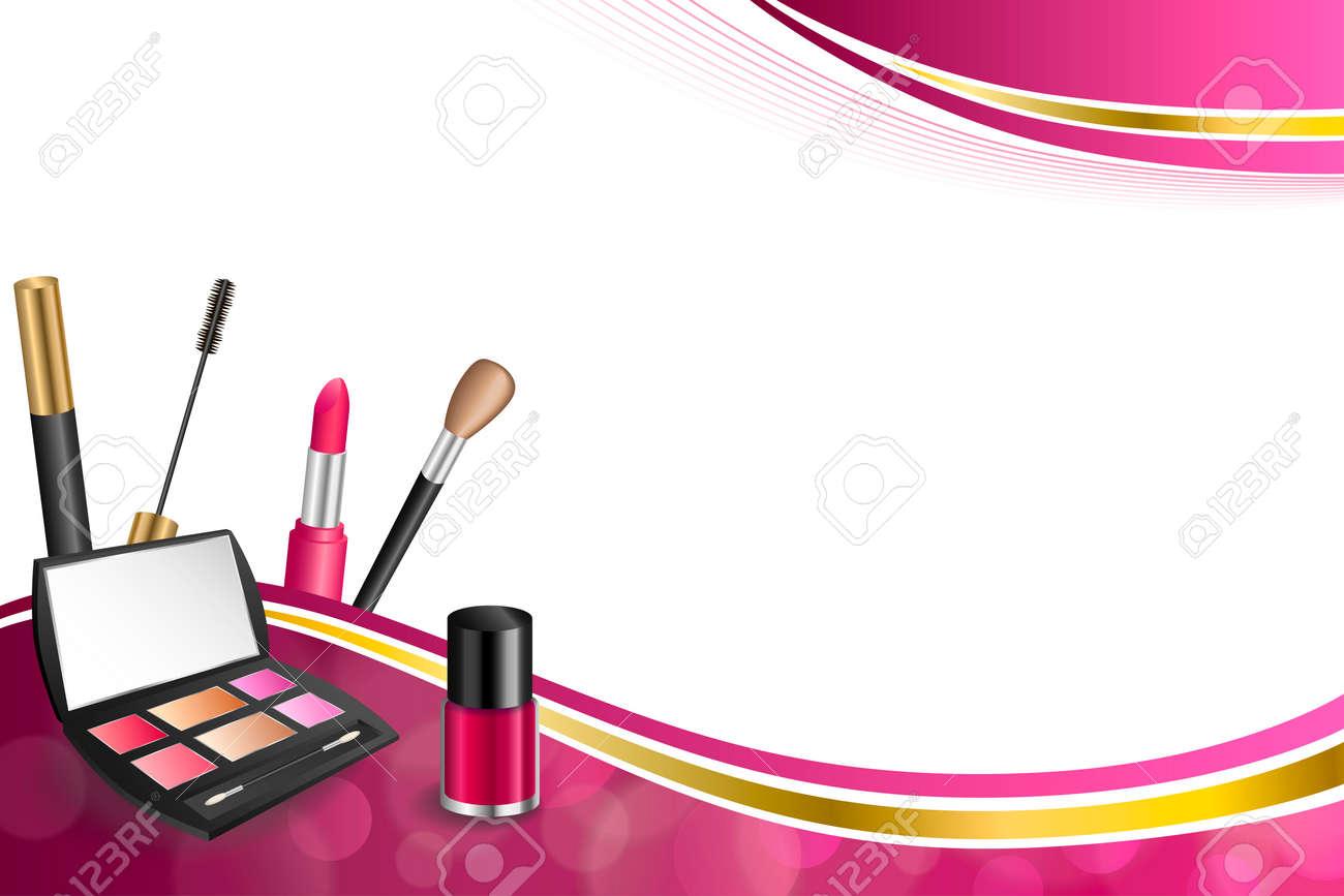 Cosméticos Fondo De Color Rosa Abstractos Componen El Lápiz Labial ...