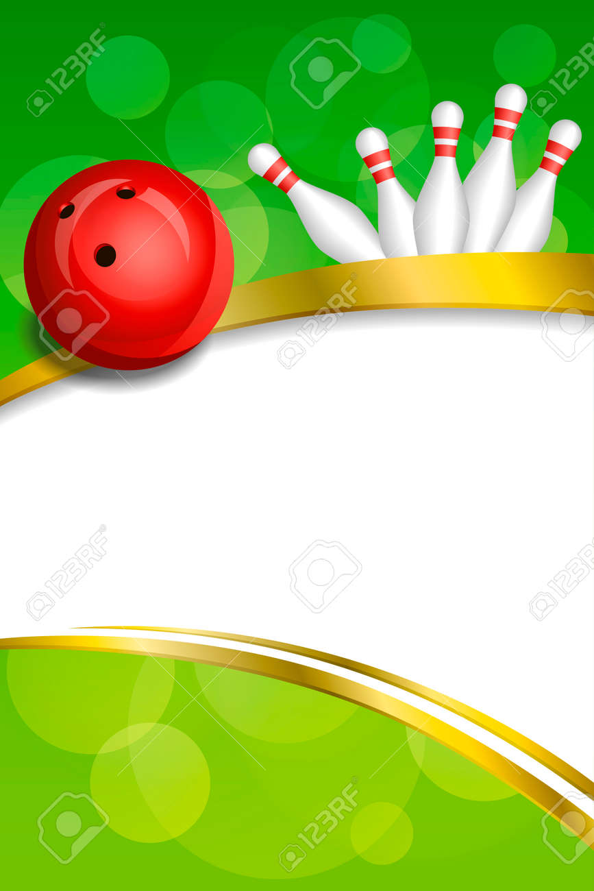 Background Abstract Green Bowling Red Ball Gold Frame Ribbon ...