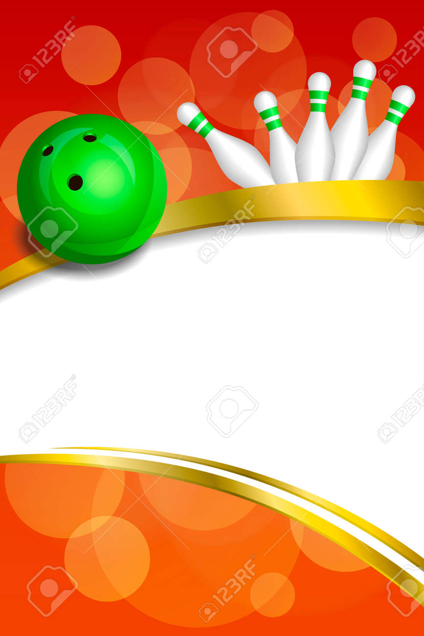 Background Abstract Red Bowling Green Ball Gold Frame Ribbon ...