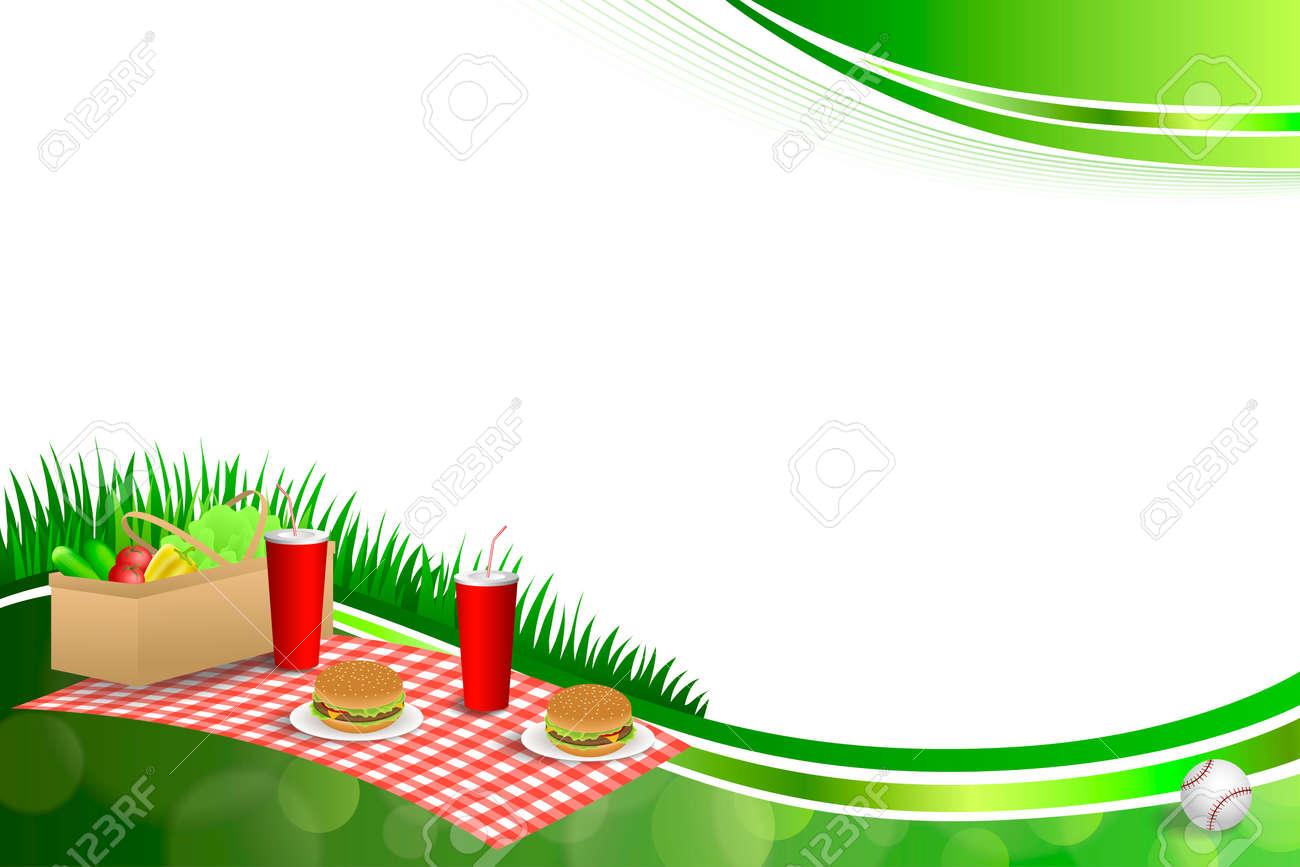 Hintergrund Abstrakte Grüne Gras Picknickkorb Hamburger Trinken ...