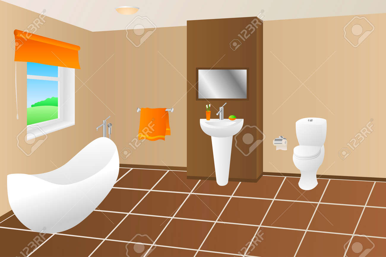 Moderne Badezimmer Beige Braun Bad Orange Handtuch Spüle Toilette Fenster  Illustration Vektor Standard Bild
