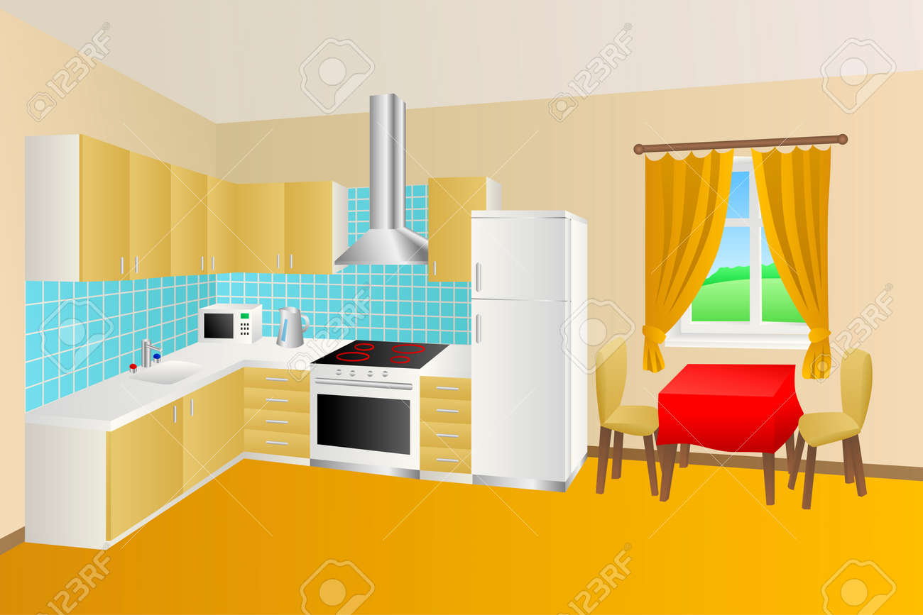 Moderne Küche Zimmer Beige, Gelb, Blau Tabelle Roten Stuhl Fenster  Illustration Vektor Standard