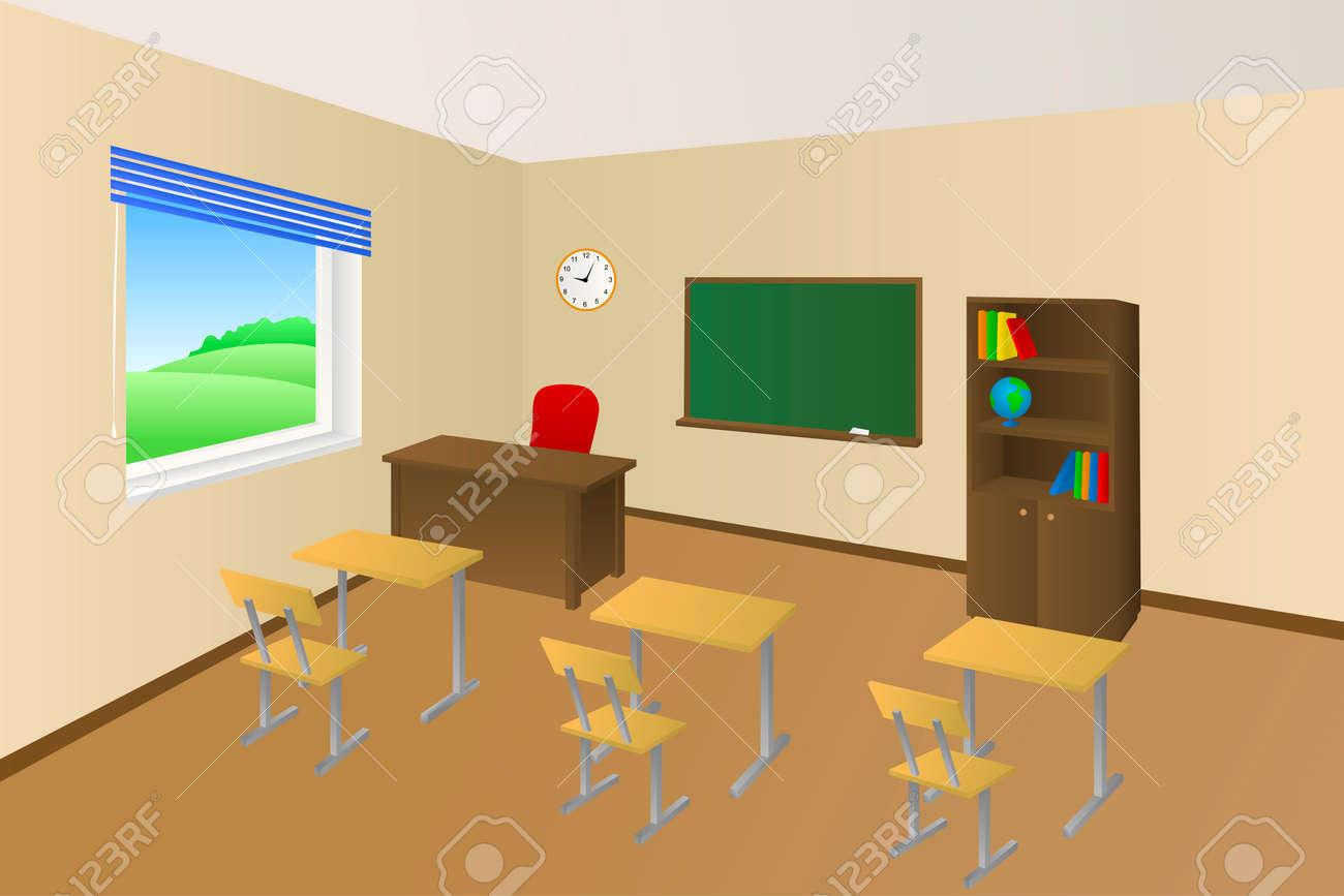 classroom table vector. school classroom beige education table chair cabinet window illustration vector stock - 49619318 i